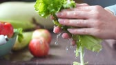 hygienics : Happy Family in the Kitchen. Young Woman Washing Vegetables to Prepare Healthy Dinner. Vegan Salad. Diet.