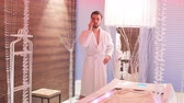 若返り : Wealthy young man resting in a luxurious Spa. Man waiting for start of procedure. 動画素材