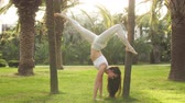 разработка : Handstand Yogi woman practicing yoga Downward facing Tree pose, working out, wearing Sportswear, full length. Park Trees