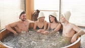 bodycare : Group of male and female friends visiting bathhouse in holidays, being overjoyed and happy, enjoying jacuzzi in hot wooden round barrel Stock Footage