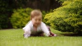 Cute little baby-girl learning to crawl on the green meadow in the city park. Vídeos