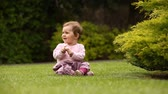 Beautiful happy little baby girl sitting on a green meadow near the bush. Vídeos
