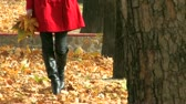 cena não urbana : Young woman in red coat, walking in the park