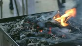 glow : 5 IN 1 EDIT Release of heat, sparks flying up the glowing coals, close-up, outdoors. Stock Footage