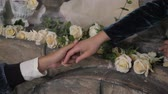 Reaching hands. Concept for rescue, friendship, guidance man and woman couple love Stok Video
