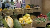 fruit vegetables : Colorful fruit stand in a local market pineapple, mango, passion fruit asia Stock Footage