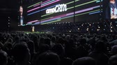 como : Moscow, Russia, 4 april, 2018. Steve Wozniak the co-founder of Apple computers gives lecture on innovation and entrepreneurship as part big audience people business