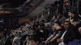 cybersport : MOSCOW, RUSSIA - MAY 4 2018: EPICENTER MOSCOW Dota 2 cybersport event. Main scene audiense crowd people and auditorium victory team on scene Stock Footage