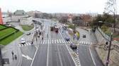 reconstrução : High Street View of Light Surface Train from Old Town Square Bridge in Warsaw, Poland Stock Footage