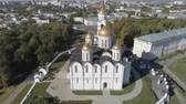 Flight of the Assumption Cathedral in Vladimir. Aerial video shooting. 무비클립