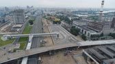 Construction of the overpass through the Moscow Central Ring. Aerial video shooting. 무비클립