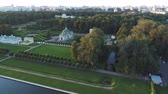 Top view of the estate Kuskovo in Moscow. Aerial video shooting.