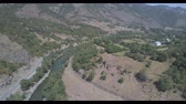 Scenic view from above, road and rural settlement. Aerial video shooting in Georgia. 무비클립