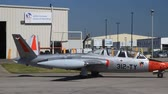 HAMILTON, ONTARIOCANADA – JUNE 15, 2014: Fouga CM.170 Magister French two-seat jet trainer built 1950 rolling to tarmacs on Organized from Canadian Warplane Heritage Museum SkyFest for Fathers Day