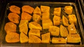 squash family : time lapse video of cooking pumpkin in oven