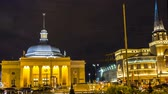 first : Moscow; Russia, September, first, Two thousand sixteen year-panoramic view of two Moscow train terminals and metro station at night, time lapse Stock Footage