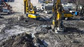 well site : machine work on installing bored piles time lapse