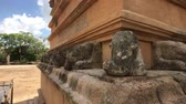 слон : Anuradhapura, Sri Lanka, part of Dagoba stone products close-up 4K Стоковые видеозаписи