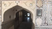 kuh : Jaipur, India, November 05, 2019, Amer Fort arnment and patterns on the wall with a beautiful entrance 4K