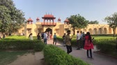 hinduismo : Jaipur, India - November 04, 2019: Jantar Mantar tourists walk around the territory of historical structures part 2 4K