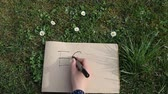 propiska : Female hand writing ECO on paper laying green spring grass on sunny day