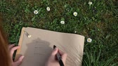 subtítulo : Female hand writing ECO on paper laying green spring grass on sunny day