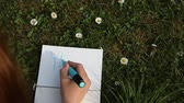 caption : Female hand writing YES|NO on paper laying green spring grass on sunny day