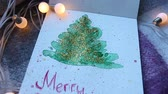 aletsiz : Sketch hand art drawing of x-mas tree with merry Christmas Stok Video