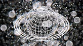 White atom grid sphere, blur bokeh, 3D rendering, Animation.