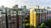 balkon : Time Lapse Shanghai Multi Level Highrise Apartment Building with Sky Cloudy Background at Morning Stock Footage