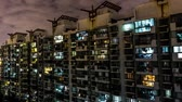 urbane : Time Lapse Shanghai Multi Level Highrise Apartment Buildings with Cloudy Sky Background at Night Stock Footage