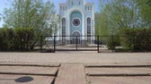 kazak : Nur-Sultan Astana Jewish Beit Rachel Synagogue Frontal View of Main Entrance on a Sunny Blue Sky Day Stok Video