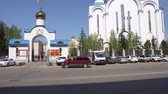 Nur-Sultan Astana Russian Orthodox Christian Assumption Cathedral Main Gate Entrance Street View on a Sunny Blue Sky Day