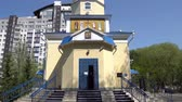 Nur-Sultan Astana Russian Orthodox Christian Saints Constantine and Helen Cathedral Frontal View on a Sunny Blue Sky Day