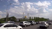 kazak : Nur-Sultan Nur Astana Mosque at Busy Traffic on a Sunny Cloudy Blue Sky Day