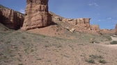kazak : Charyn National Park Sharyn Canyon Breathtaking Picturesque View of Rock Formations Valley of Castles on a Blue Sky Sunny Day