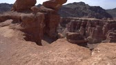 Charyn National Park Sharyn Canyon Breathtaking Picturesque View of Rock Formations on a Sunny Blue Sky Day Stock Footage