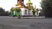 Zharkent Russian Orthodox Christian Church in Honor of the Holy Prophet Elijah Side View on a Sunny Blue Sky Day