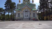 Almaty Russian Orthodox Christian Zenkov Ascension Cathedral of the Lord Back Entrance View at Panfilov Park on a Sunny Blue Sky Day