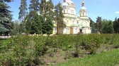 Almaty Russian Orthodox Christian Zenkov Ascension Cathedral Back Side View in Panfilov Park on a Sunny Blue Sky Day Stock Footage