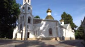 bell : Dushanbe Russian Orthodox Christian Saint Nicholas Cathedral Low Angle Frontal View on a Sunny Blue Sky Day