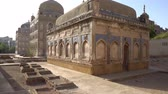 Hyderabad Tombs of the Talpur Mirs Mausoleum Containing Graves of Two Females and Infant Side View During Sunrise Stok Video