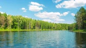 Full HD timelapse, Beautiful forest lake and blue sky at sunny day, pro res. Filmati Stock