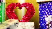 box : holiday present with love symbol Stock Footage