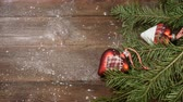 bombki : New Year and Merry Christmas. christmas tree with decorations on wooden background. it is snowing