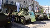 haki : KYIV, UKRAINE - AUGUST 23, 2018: an exhibition of modern weapons and military equipment.Mihailovskaya Square.
