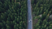 уличный фонарь : Aerial view of the mountain road, at sunrise Стоковые видеозаписи