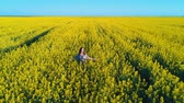 blooming : Slow motion of a beautiful woman in the rapeseed field Stock Footage