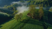 fantasia : Sunrise aerial view of the foggy forest, in Apuseni Mountains