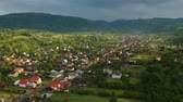 уличный фонарь : Aerial view over Ieud village, Maramures - Romania